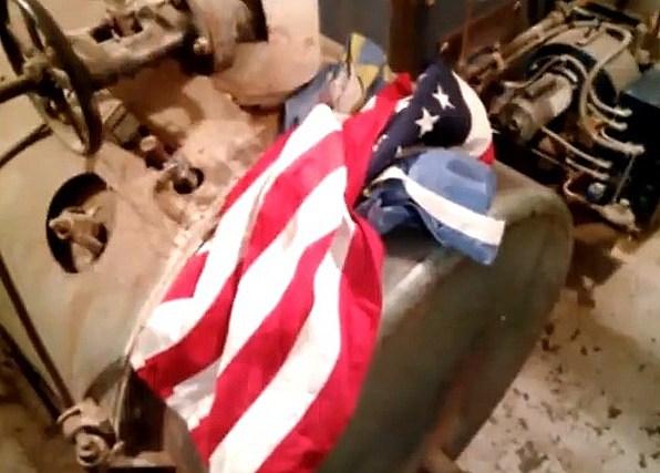 American Flag in Boiler Room