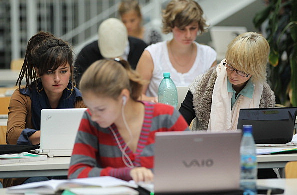 female college students on computers