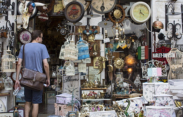 man shopping for antiques