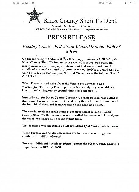 Knox County Sheriff's Department Press Release