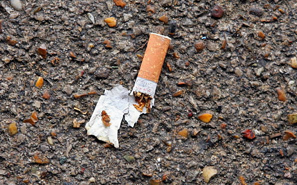 cigarette butt on ground