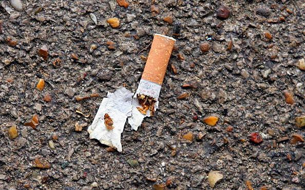 cigarette butt on ground