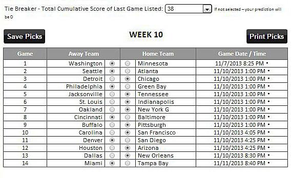 Tad Pole's Picks Pro Pick'em Week 10