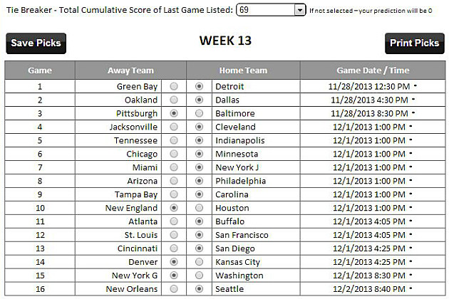 Tad Pole's Week 13 NFL Picks