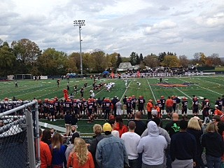 Utica College football game at home