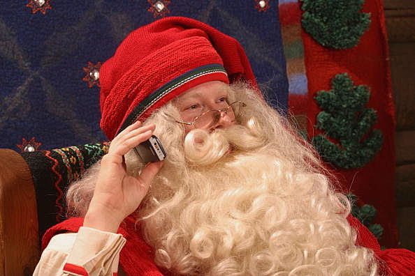 Santa Claus on cell phone