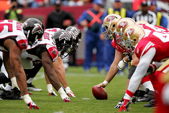 Atlanta Falcons on field with San Francisco 49ers