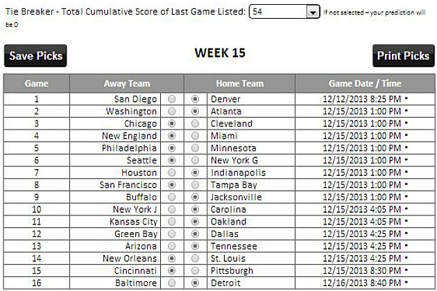 NFL Week 15 Tad's Picks