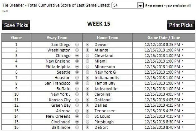 NFL Week 15 Tad's Picks