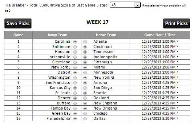 TP's Week 17 Picks