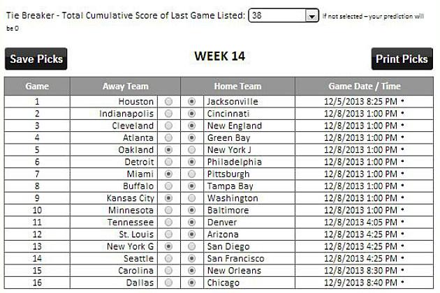 Tad Pole's Picks Week 14
