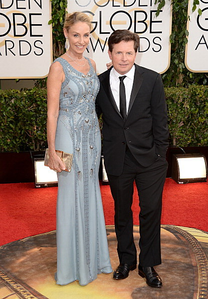 Michael J Fox and Tracy Pollan at the 71st Annual Golden Globes