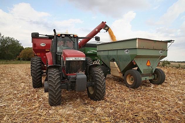 farm equipment on corn field