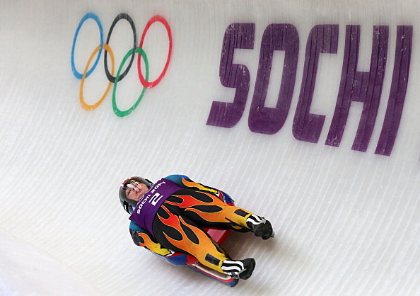 Erin Hamlin doing her thing in Sochi, Russia