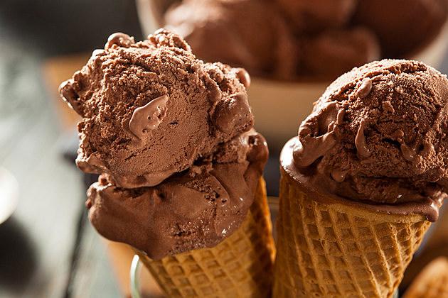 Homemade Dark Chocolate Ice Cream in a Cone